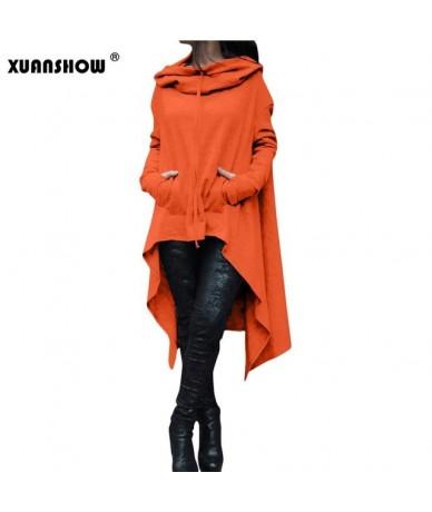2018 Autumn Winter Women Irregular Draw Cord Long Sleeve Loose Casual Poncho Hooded Pullover Long Hoodies Sweatshirts - Oran...