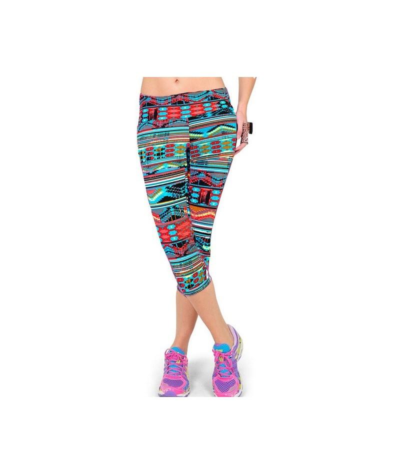 Women Leggings Elastic Capri Legging Printed Pants High Waist Plus Size Mid-Calf Stretch Casual Leggings - Q1 - 494150694949-3