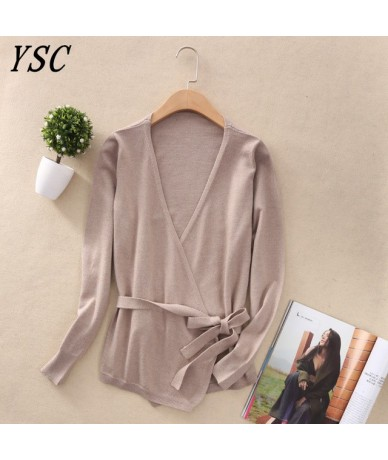 2018 spring Hot Sales Women Cashmere Wool Cardigan V-collar Solid color Short style Cardigans - Khaki - 4N3953912663-5