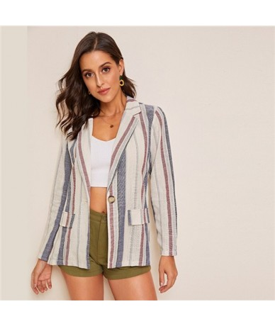 Multicolor Notched Collar Flap Pocket Detail Striped Blazer Coat Women Autumn Single Button Casual Outwear Blazers - YELLOW ...