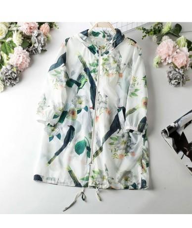 2019 Long Bird Flower Print Hooded Sunscreen Jacket Women Casual Three Quarter Sleeve Loose Style Thin New Summer Jackets Wo...