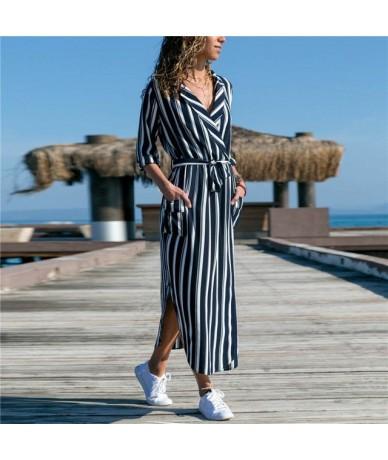 Summer Chiffon Dresses 2019 Women Casual Striped Print Long Sleeve Shirt Dress Elegant Beach Party Dresses for Ladies Vestid...