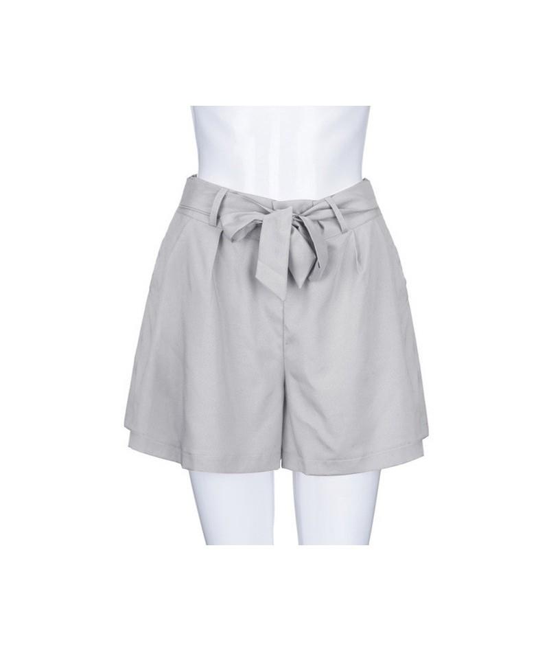 Casual Floral Print Elastic Waist Shorts Women Summer Beach Drawstring Bow Belt Shorts Pocket Short Pants 2019 - Gray - 4241...