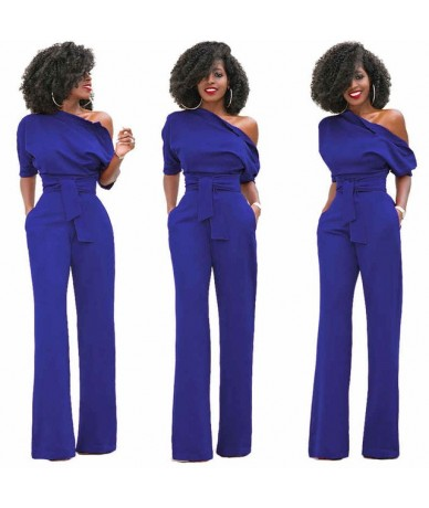 New Fashion Off Shoulder Elegant Jumpsuits Women Plus Size 2XL Rompers Multicolor Jumpsuits Short Sleeve Female Overalls - B...