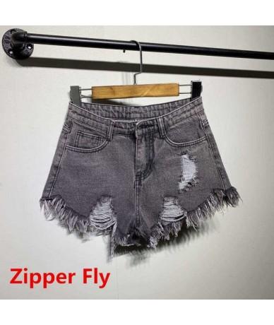 Vintage ripped hole fringe 6 color denim shorts women Casual pocket jeans shorts 2017 summer girl hot shorts SL086 - gray2 -...