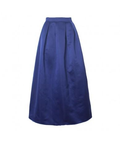 Long Skirt Women 100cm Casual Ball Gown Fashion Satin Retro Vintage Solid Plain High Waist Pleated Ladies Flared Maxi Skirt ...