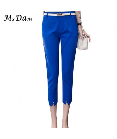 Women Capris Pants Summer 2019 Casual Lady Mid-calf Length Workwear Trousers High Waist Female Slim Elastic Candy Color Legg...