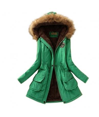 Women Parka Fashion Autumn Winter Warm Jackets Women Fur Collar Coats Long Parkas Hoodies Office Lady Cotton Plus Size - Gra...