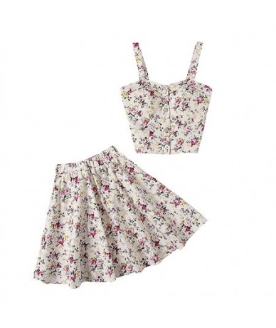 New Arrived Single Breasted Floral Tank Top + Mini Skirt Women 2pcs Summer Sets Stretchy Crop Top Boho Skirt Suits - White -...