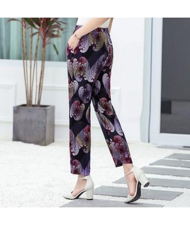 2019 Women Summer Casual Pencil Pants XL-5XL Plus Size High Waist Pants Printed Elastic Waist Middle Aged Women Pants - 22 -...