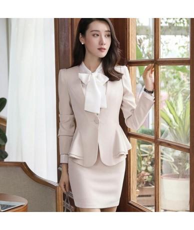 New Autumn winter women skirt suits set elegant Business formal long sleeve hem ruffles office ladies plus size work uniform...