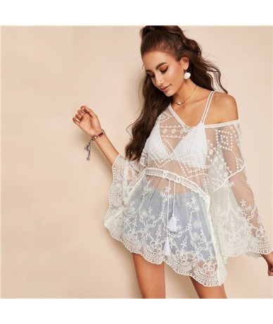 Boho Sexy White Tassel Drawstring Waist Embroidered Mesh Top Without Bra Blouse Women Butterfly Sleeve Sheer Long Blouses - ...