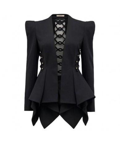 Hollow Out Back Asymmetric Hem Long Sleeve Black Slim Jacket Women Blazer V Neck Gothic SLaides Fashion 2019 Autumn - Black ...