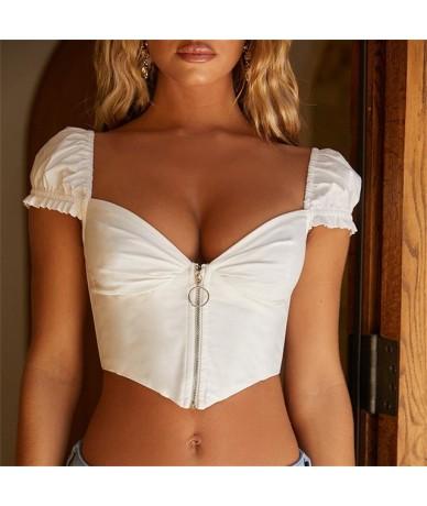 Women Girl Summer Beach Short Sleeve Blouse T-Shirt Slim Sexy Cami Crop Tank Top - White - 4Z4166343356-2