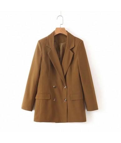 2019 Za Solid Long Sleeve Women Blazer Coat Button Casual Coats Autumn Blazer Women Double Breasted Pockets Tailored Collar ...