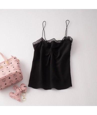 100% Silk Women Lace Camis 2019 New Sleeveless Slip Top - Black - 454124467585-3