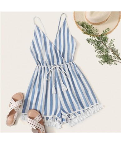 Crisscross Tie Back Tassel Hem Striped Wrap Romper Boho Fringe Spaghetti Strap Wide Leg Belted Summer Sleeveless Playsuits -...