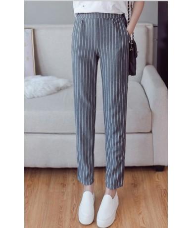 Summer autumn female fashion elastic waist casual stripes peneil pants women pants work wear trousers harem pants drop shipp...
