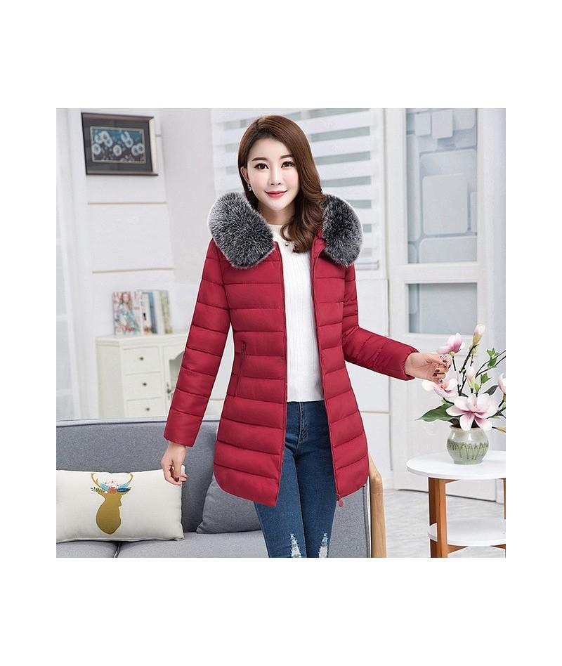 2018 Plus Size XL-7XL Thick Parkas Women Winter Coat Medium-long Fur Collar Solid Hooded Down Cotton Padded Warm Jacket PJ80...
