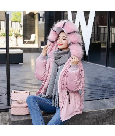Plus Size Loose Down Cotton Padded Jacket Women Winter Thickening Warm Short Parka Mujer Big Fur Collar Hooded Female Coat -...