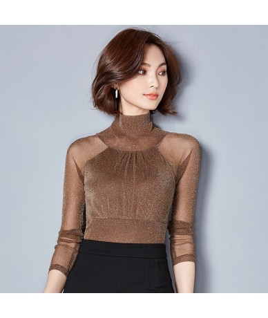 Fashion women tops and blouses 2019 ladies tops long sleeves spliced sexy women's clothing turtleneck solid shirt blusas C72...