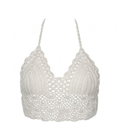 2019 New crop top Sexy Women Summer Backless Crochet Knit Beach Knitting Halter Cami Tank Crop Top S / M / L / XL - White - ...