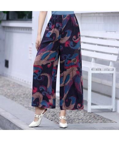 2019 Women's Summer Casual Retro Print Bohemian Wide Leg Pants High Waist Wide Legs Trousers Elastic Waist Beach Holiday Pan...