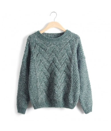 Pull Femme 2016 Autumn Winter Women Sweaters And Pullovers Plaid Thick Knitting Mohair Sweater Female Loose Variegated - Gre...
