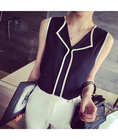 2016 Summer Fashion Womens Casual White V Neck Sleeveless Black Side Chiffon Blouse Shirt Work Wear Women Tops - Black - 4R3...