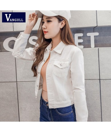 Denim Jacket Women Short Jeans Overcoat Ladies Jackets Tops Turn Down Collar Slim White Black Jeans Top For Women High Quali...