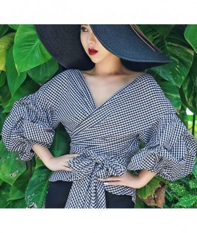 Women's fashion 2018 shirt V-neck Lantern sleeve bow cute shirt female custom color shirt high quality ruffled shirt HQ1 - H...