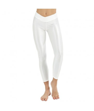 Plus Size Women Workout Leggings Casual Fluorescent Leggings High Elastic Female Shiny Elasticity Pants Girl Clothing Leggin...