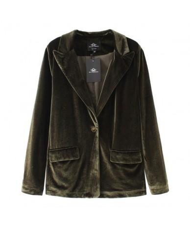 velvet blazer coat women suit blazer casual black coat female red blazer for ladies outwears - Green Blazer - 4I3963210887-5