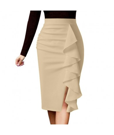 Womens Elegant Ruched Ruffle High Waist Slit Split Work Business Cocktail Party Fitted Stretch Bodycon Pencil Skirt 1007 - B...