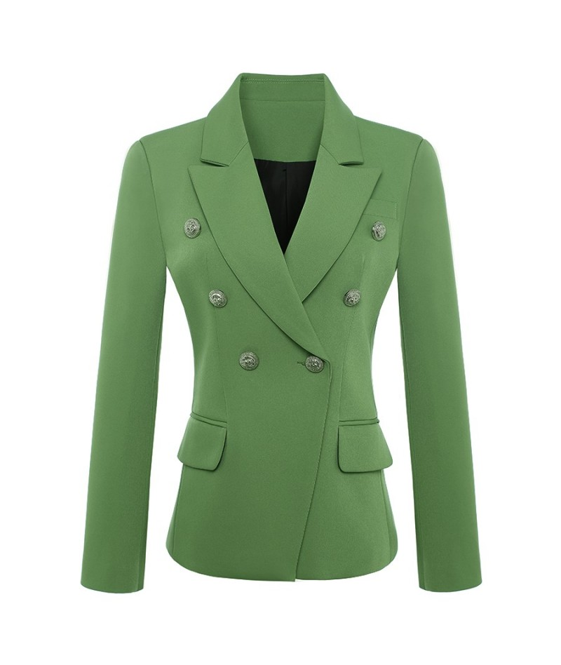 HIGH QUALITY New Fashion 2019 Baroque Designer Blazer Jacket Women's Metal Lion Buttons Double Breasted Blazer Green size S-...