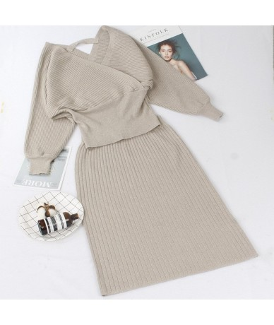 2 Pieces Set Knitted Pullover Sweater Lurex Shinning Knit Jumper Tops and Skirt Suits Fashion V Neck Sexy Tracksuits - light...