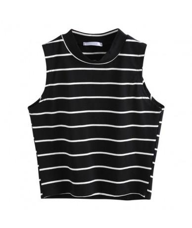 Casual Sleeveless Vest Summer T-Shirt Fashion Striped Crop Top Women T-Shirt Turtleneck Women Tops Cropped Feminino Camisas ...