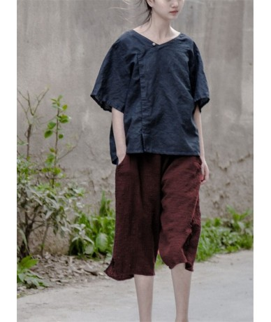 2019 Summer New Arrival Women Hemp Bamboo Wind Loose Wild Theatrical Shorts - Red - 423758630457-3