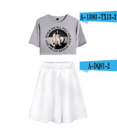 Billie Eilish Summer pop Women Two Pieces Sets Sexy Short Skirt And T-shirts Clothes 2019 Hot Sale Kpops Sets XXL - White - ...