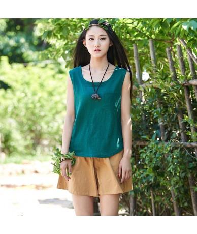 Women summer tops skin comfortable Vest original retro casual sleeveless tTshirt female broadside gilet ladies top - Green -...