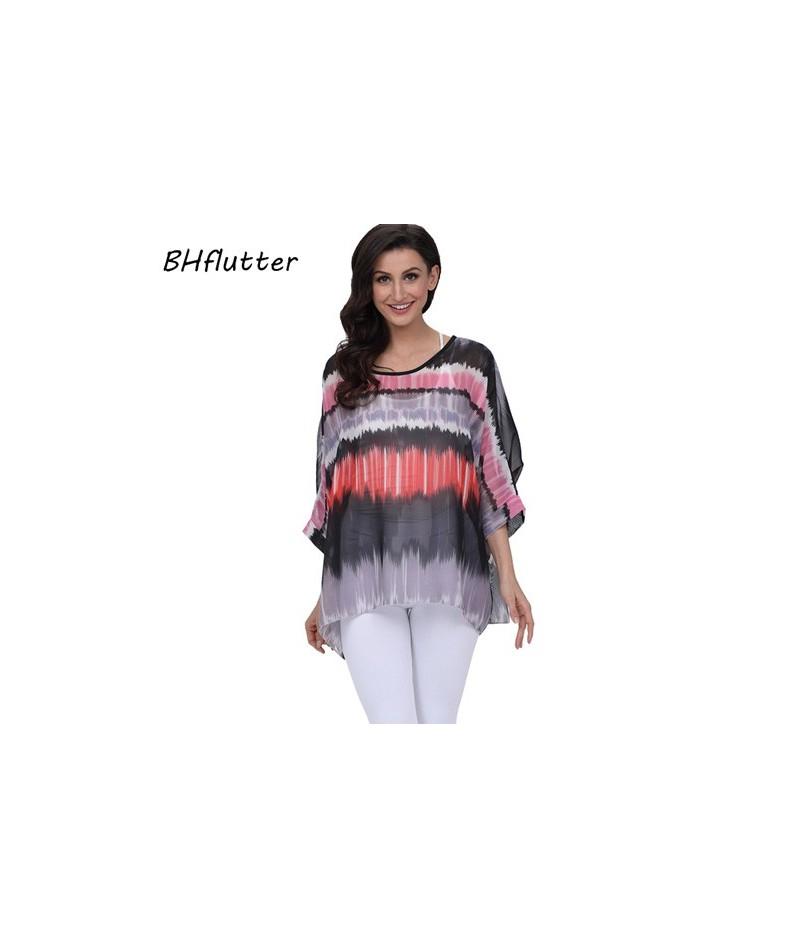Women Blouses 2018 New Fashion O neck Batwing Summer Blouse Boho Style Beach Chiffon Shirts Tops Plus Size 4XL 5XL 6XL - pic...