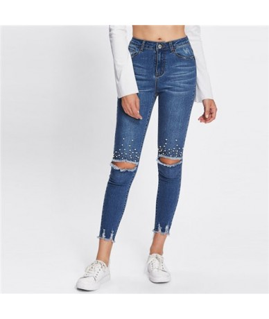 Blue Casual Pearl Beading Ripped Casual Denim Jeans 2018 Autumn Streetwear Mid Waist Jeans Female Stretchy Pants - Multi - 4...