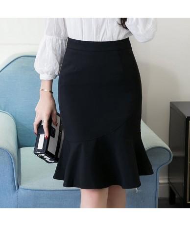 Women Pencil Skirt Fashion OL Slim Bodycon Skirt Business Wear Ruffles Hem Mermaid Style Plus Size Office Skirts - Black - 4...