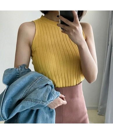 Crop Tops Women Sexy Knitted Tank Tops Women Fitness Vest Summer Camisole Tank Top Liva girl - YELLOW - 5Z111215695909-6