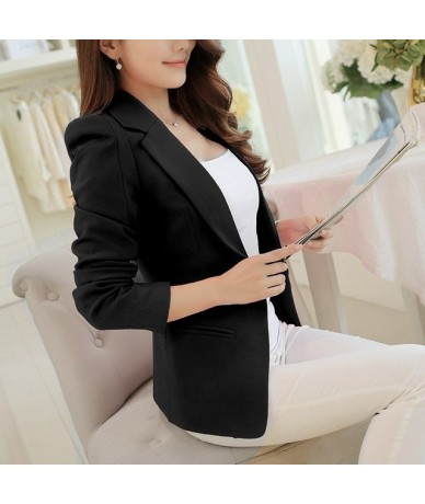 2019 Plus Size Autumn Women One Button Slim Blazer Solid Long Sleeve Lady Suit Notched Turndown Neck Short Work Wear - Black...