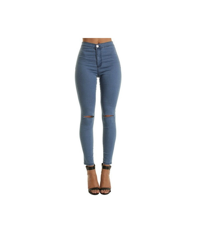 2019 New Women Casual Slim Solid Hole Long Jeans Sexy Trousers Stretchy Pencil Jeans Fashion Denim Pants - Blue - 4U41450052...