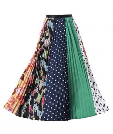 High Waist Pleated Midi Skirt Women Print Novelty Trendy Pleated Skirt Elastic Summer Autumn Skirt Casual Daily Wear LS-9831...