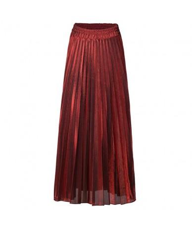 Women Silver Gold skirt Lady midi Skirts Elastic High Waist Metallic Pleated Skirt for Party Ladies Saia Fenimias send soon ...