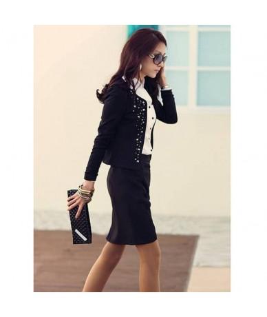Super Fashion Cool Women Ladies Long Sleeve Shrug Suits small Jacket Elegant Women's Rivet Coat Black/White - Black - 4H3918...