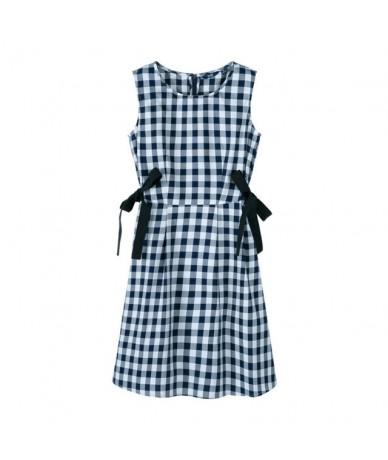 Sleeveless dress women 2019 summer new style cotton plaid popular retro French dress woman - blue and white - 4K3003952289